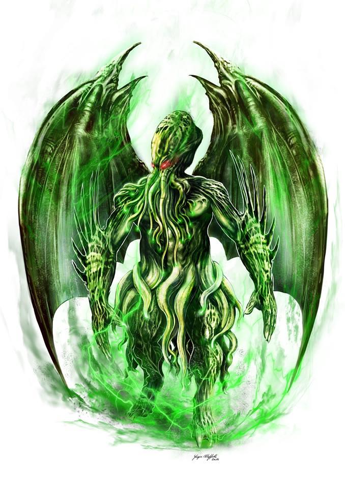 Il temibile Grande Antico, Cthulhu, illustrato da Yugin Maffioli