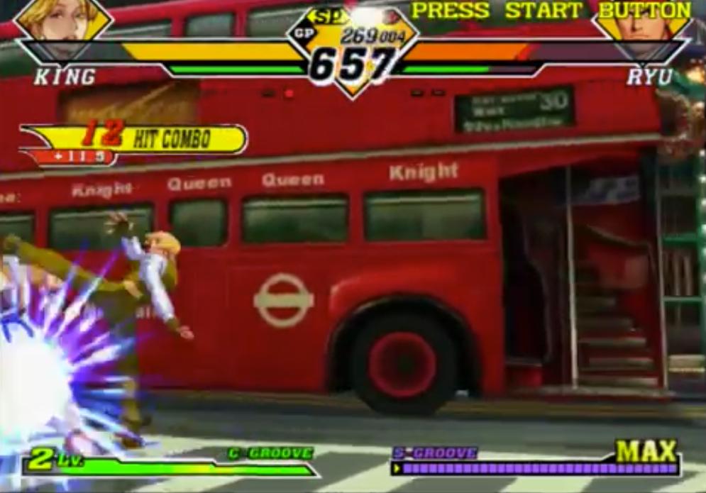 Durante un combattimento, King ha eseguito il Trap Shot, una raffica di calci seguita da un calcio finale che Scaglia l'avversario in aria.