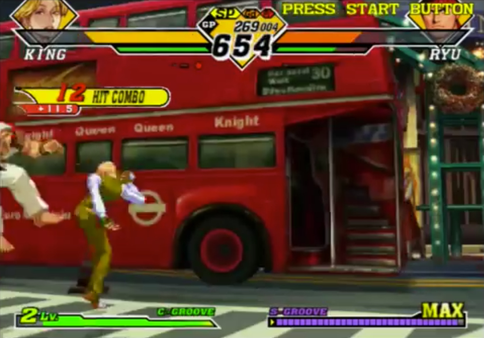Colpito dal Trap Shot, Ryu viene Scagliato. Ora è vulnerabile a un attacco successivo (a meno che non usi la Combo Breaker)