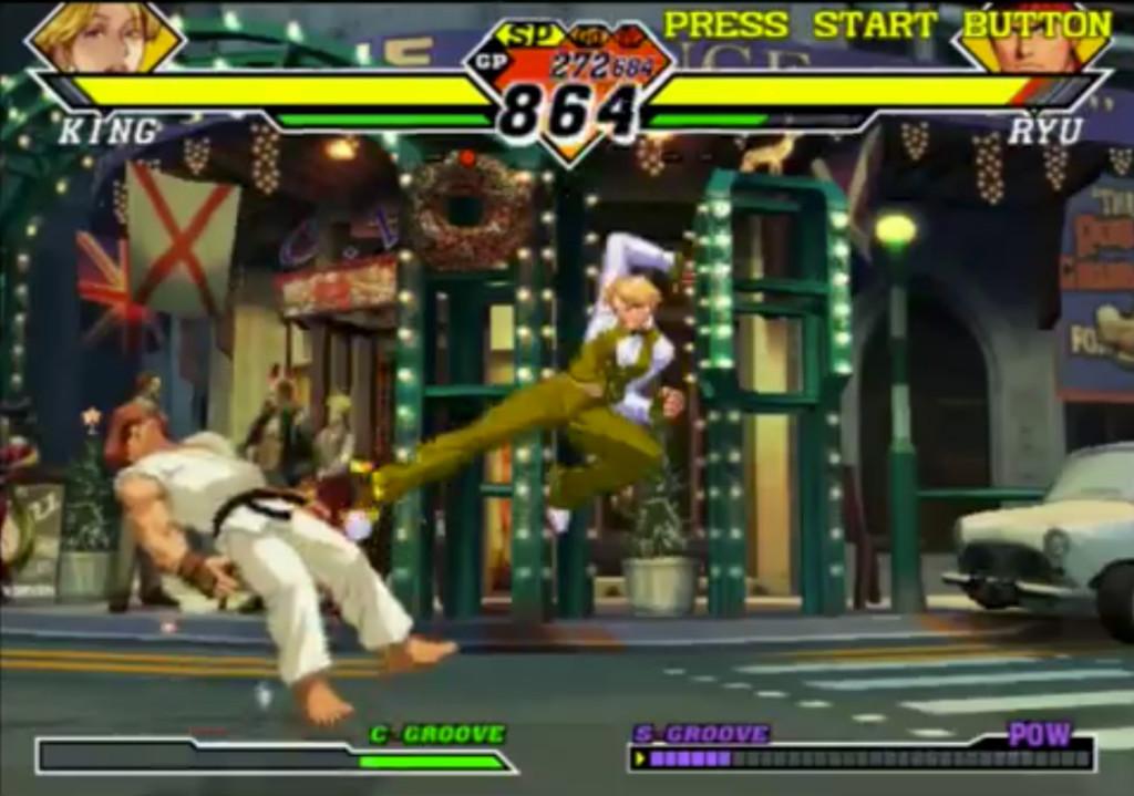 King spende 1PA per saltare e 1PA per eseguire un calcio in volo che andrà a segno necessariamente, visto che Ryu è Scagliato.