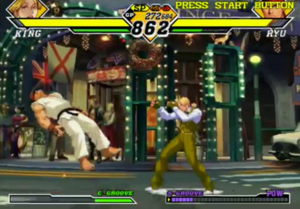 King decide di non Concatenare ulteriormente ma di aspettare che Ryu cada in terra. Visto che era stato Scagliato, ora dovrebbe cadere. Così, King si troverà in una posizione vantaggiosa per i prossimi attacchi; non ha ancora ceduto il Turno.