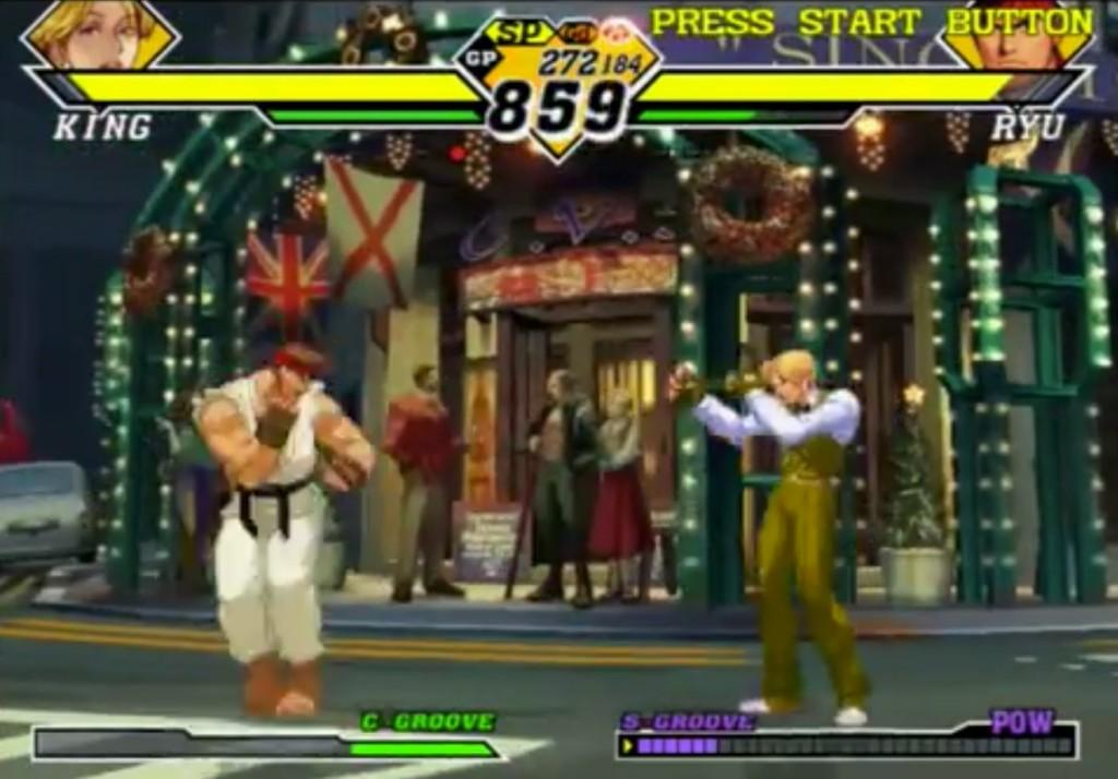 Avendo eseguito la Air Recovery, Ryu torna a terra in piedi. Tocca ancora a King che si appresta ad attaccarlo, solo che King non è nella posizione vantaggiosa che sperava di ottenere Scagliando Ryu così da farlo cadere!