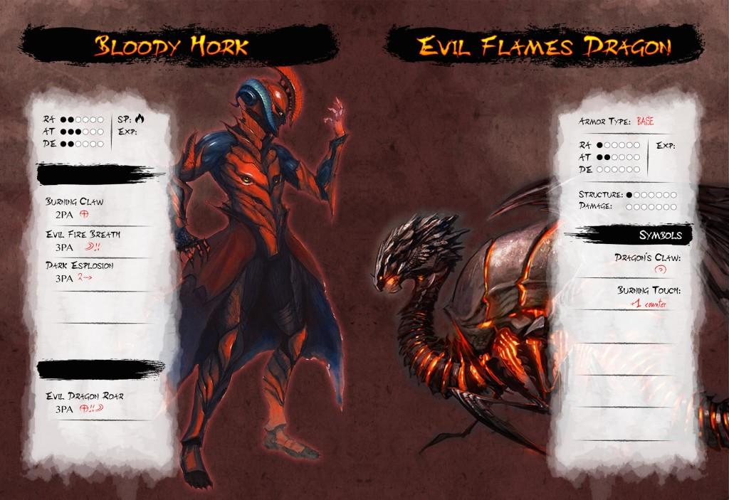 Scheda di un personaggio di esempio, originale, con armatura affiancata: potete vedere come le due schede si completino a vicenda. L'armatura ha la sua immagine a parte rispetto a quella del PG.