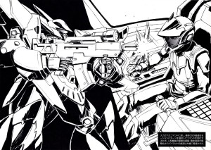 yande.re 56990 sample gun mecha monochrome super_robot_wars